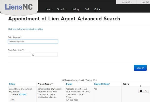 North carolina archives tradition lien service for Advanced house search